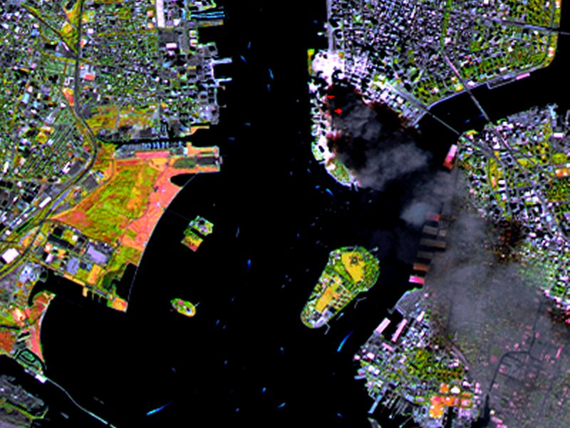 SPOT Satellite Images of World Trade Center Fires, New York City after the attacks of September 11, 2001
