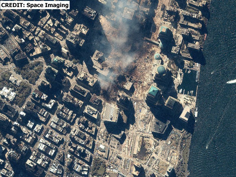 Satellite Imagery of the island of Manhattan and of Ground Zero at World Trade Center, New York City after the attacks of September 11, 2001