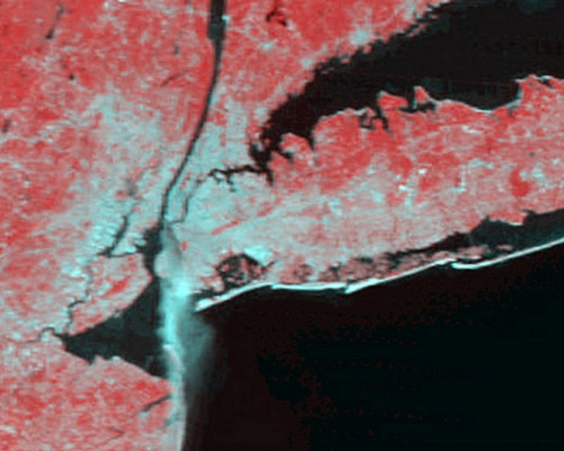 NASA's Terra Satellite image showing the fire plume from Manhattan after the September 11, 2001 terrorist attack on the World Trade Center, New York City