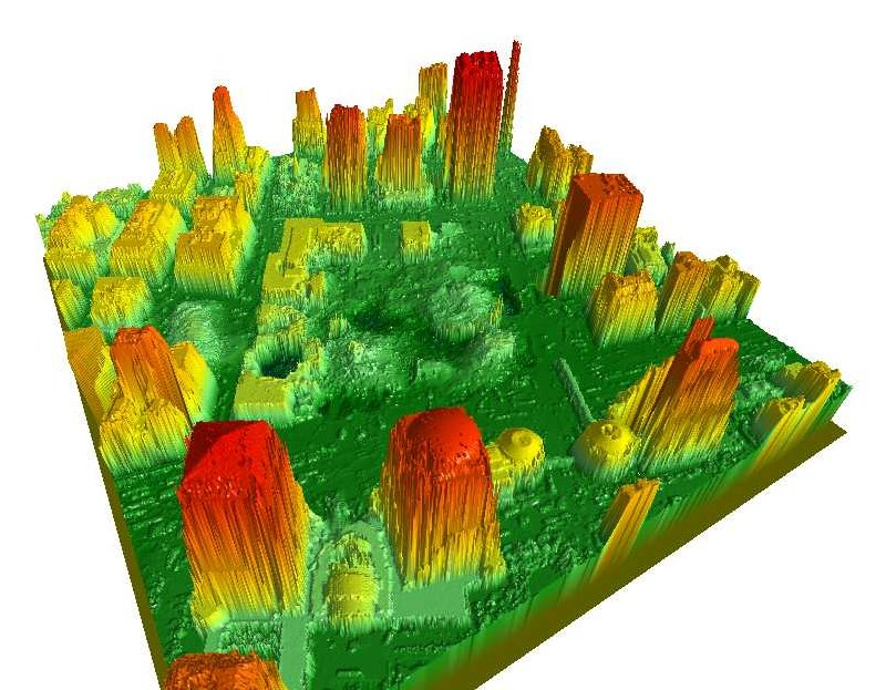 Digital Surface Models created by the LIDAR (Light Detection and Ranging) system of the building structures and the surrounding area of Ground Zero, World Trade Center, New York, after the September 11, 2001 terrorist attacks