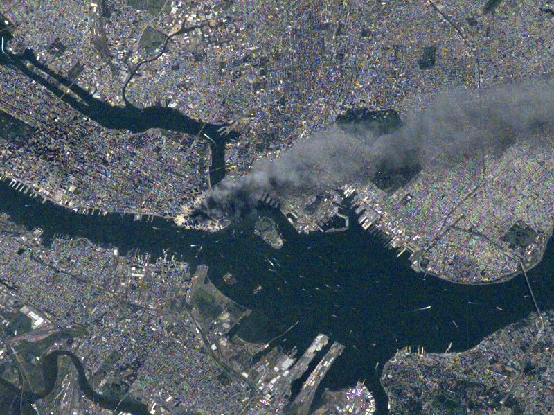 International Space Station Imagery showing the fire plume from Manhattan after the September 11, 2001 terrorist attack on the World Trade Center, New York City