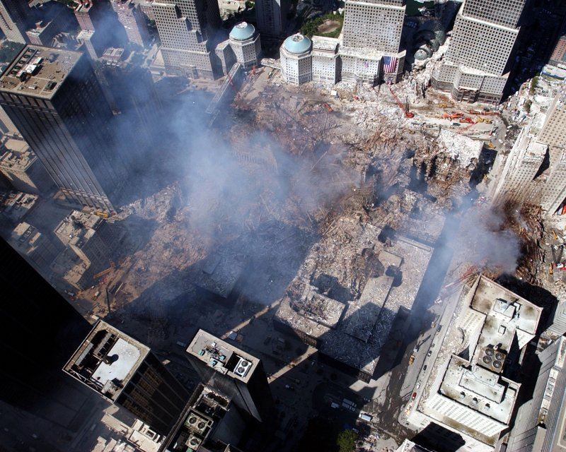 View of Ground Zero at the World Trade Center, New York, after the September 11, 2001 Attacks