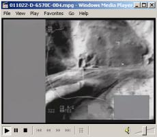 Movie showing Oct. 21, 2001, airstrike on a Taliban tank set up in a defensive position and trying to find cover in a wadi in western Afghanistan, near Herat