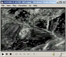 Video showing showing a flight of F-15s dropping numerous bombs on al Qaeda fighting positions and hitting on March 7, 2002, al Qaeda positions in a valley