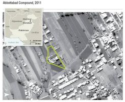 Aerial imagery overview of Osama Bin Laden's Abbottabad compound, showing site relative to the proximate neighborhood