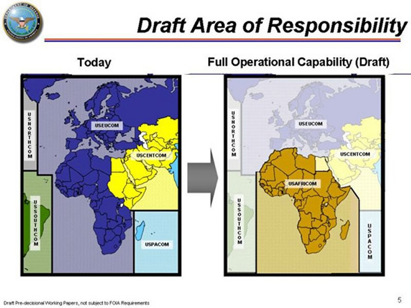 Africa Command AFRICOM - Map of us and africa