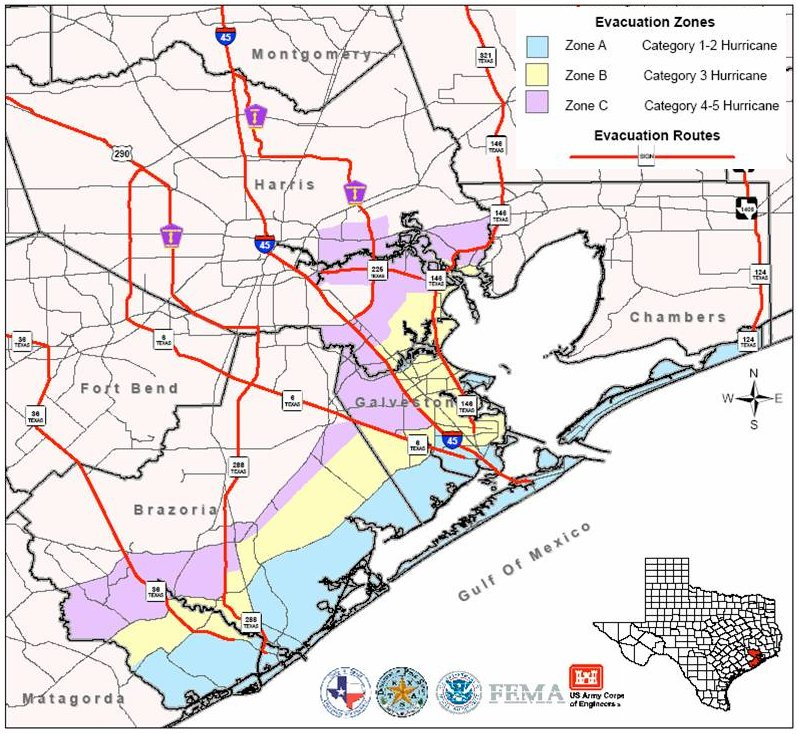 Map of the Galveston and Houston Area