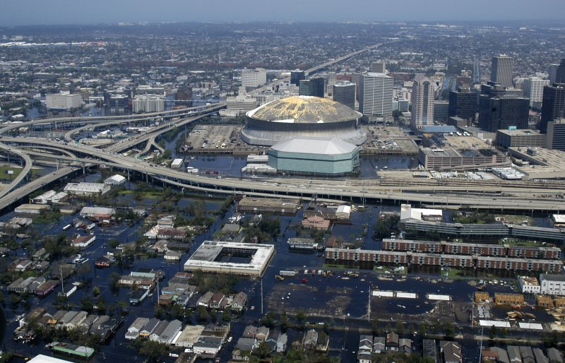 Aerial view of the New Orleans Superdome in the wake of Hurricane Katrina.
