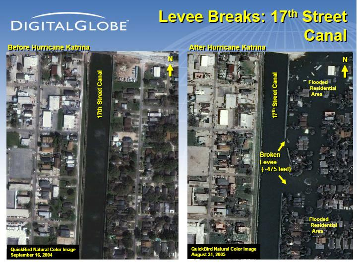 Satellite Imagery of the 17st Street Levee in New Orleans post-Katrina