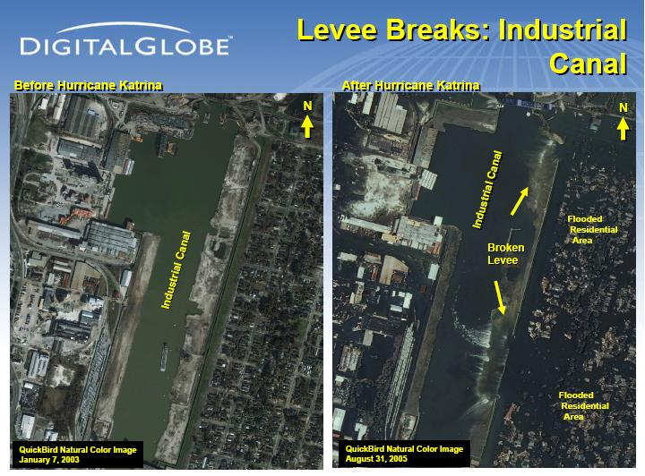 Satellite Imagery of the Surekote Levee in New Orleans postKatrina
