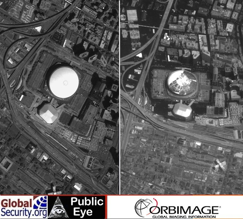 Satellite Imagery of New Orleans before and after Hurricane Katrina