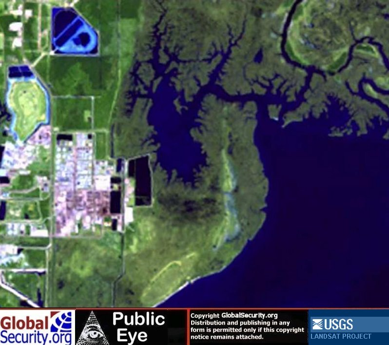 Satellite images of Pascagoula Mississippi before and after