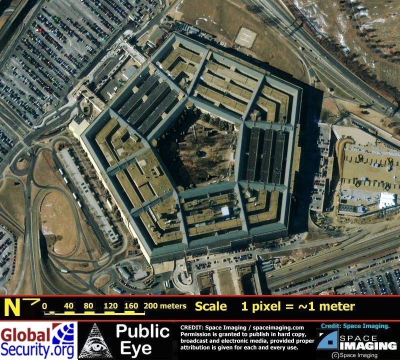 ... image of The Pentagon collected by Space Imagings IKONOS satellite
