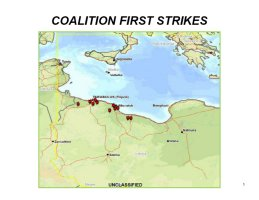 Graphic showing the rough locations of the military targets struck as part of the initial phase of Operation Odyssey Dawn