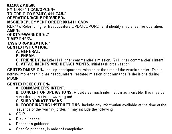 usmc warning order template - fm 3 appendix c products of ca cmo planning and