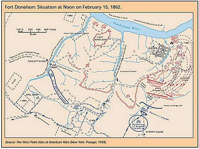 Graphic Showing Map Of Fort Donelson Situation At Noon Of February 15 1862