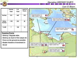 Map providing a snapshot of what Coalition forces' actions as part of Operation Odyssey Dawn during the day prior