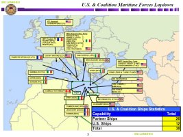 Map overview of the maritime laydown of Operation Odyssey Dawn coalition forces, with most ships operating just to the north of Libya, as of March 24, 2011
