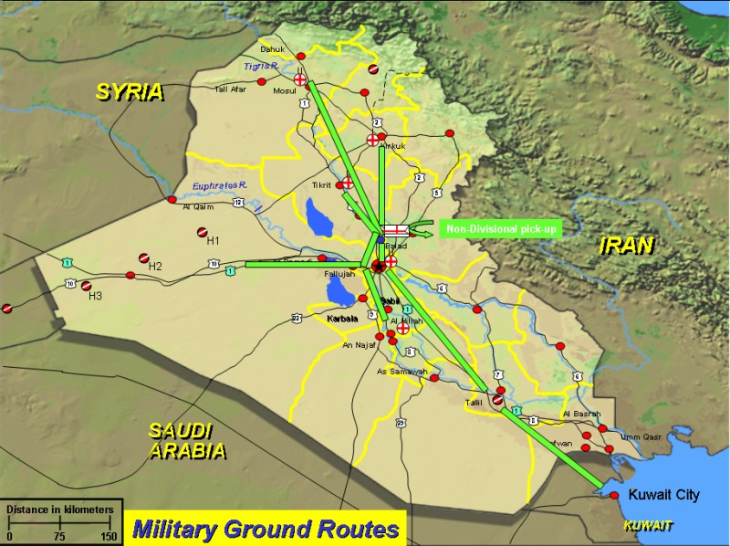 Attacking Iraq Operation Iraqi Freedom - Us military installation road map