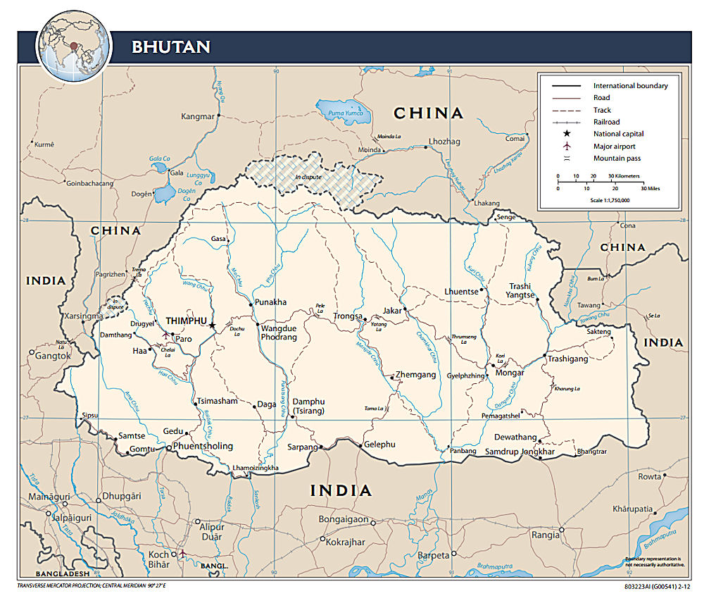 Bhutan Maps - Map of bhutan