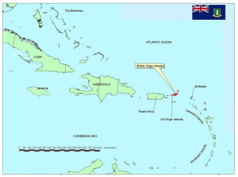 British Virgin Islands - Map of the virgin islands british and us