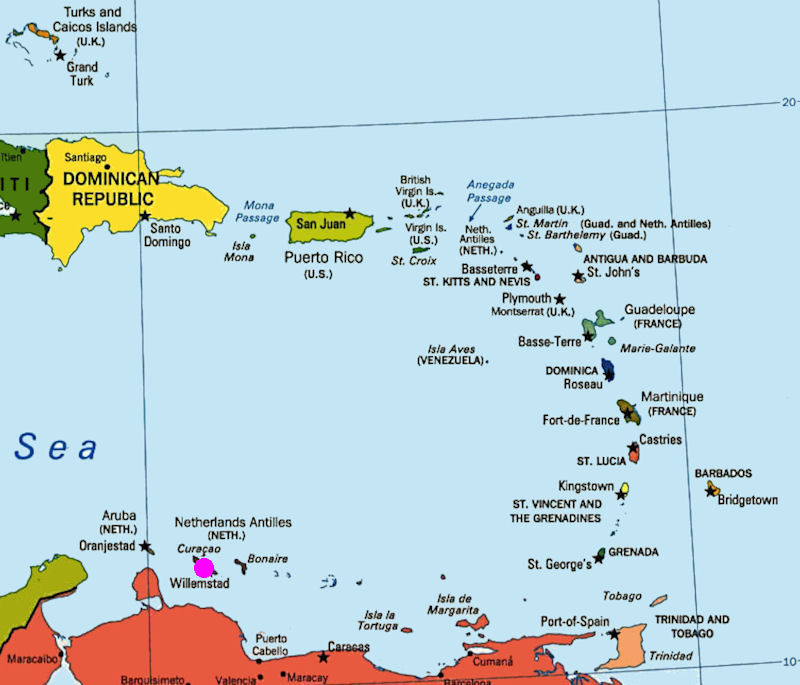 Curaçao - Map of netherlands antilles world