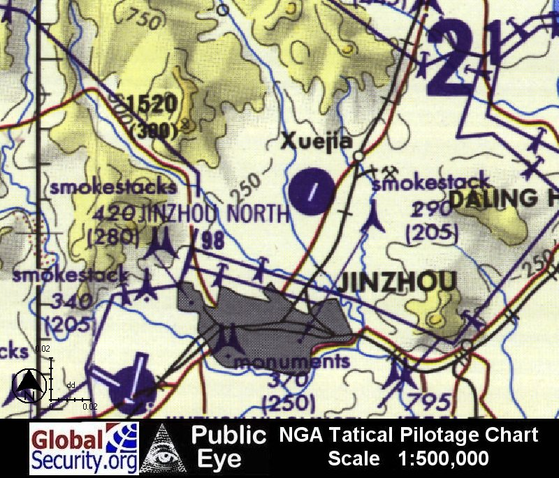 NGA Tactical Pilotage Chart of Jinzhou North Airfield (Source ...