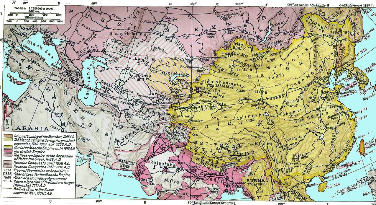 China History Maps   1644 1912 Qing / Ch'ing (Manchu)