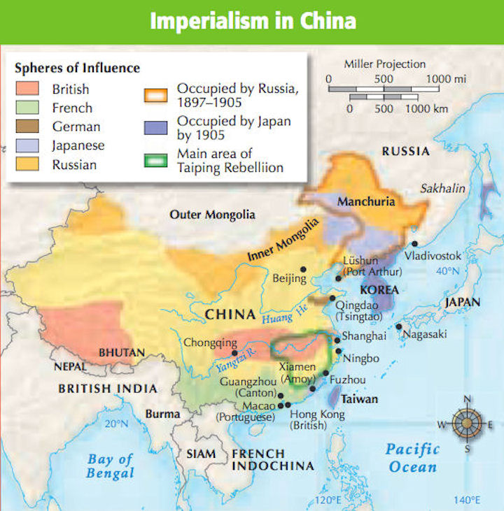 China history maps 1644 1912 qing ching manchu china history map spheres of influence 1905 gumiabroncs Image collections