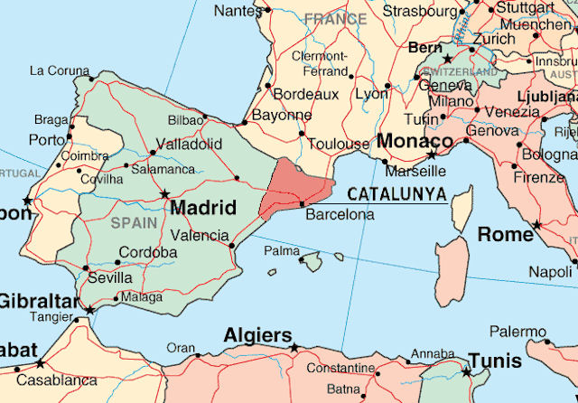 Catalonia location on the europe map on
