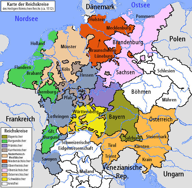 Holy Roman Empire 1500 The German Empire – Map of Germany and Holland Together