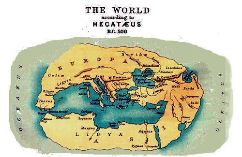 Ancient greek geography maps world map 500 bc hecateus gumiabroncs Gallery