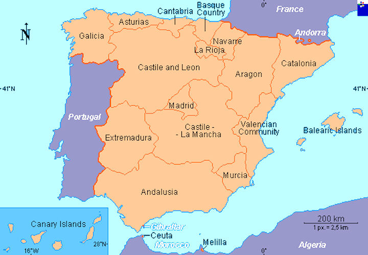 Map Of Spain Showing Regions.Spain Maps