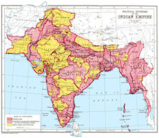 India historical maps india history map political divisions 1916 gumiabroncs Images