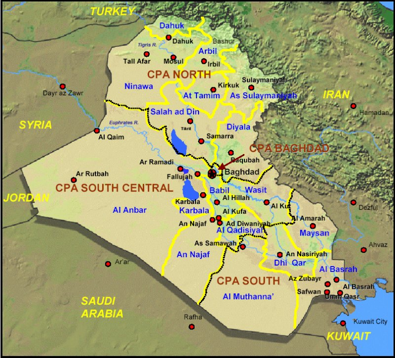 coalition provisional authority regions in iraq