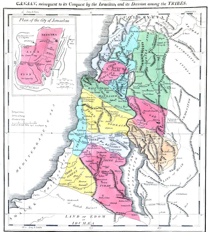 Maps - 12 Tribes of Israel  Tribes Of Israel Map on