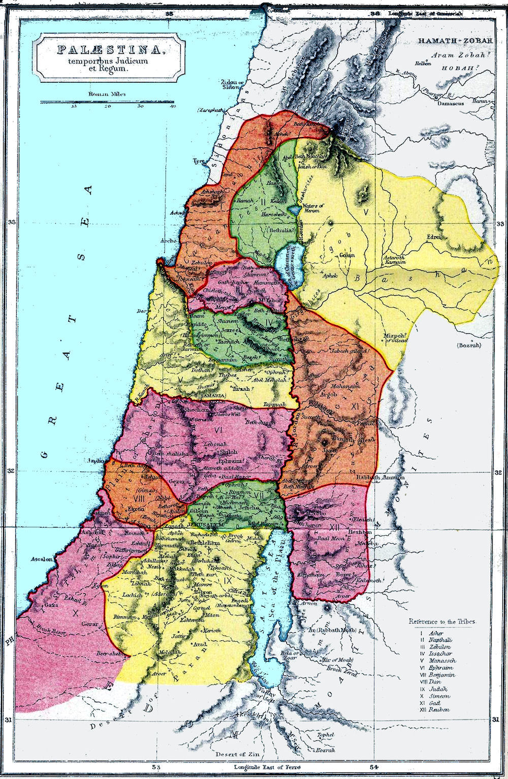 Historical maps and atlases boundaries of the tribes of israel map gumiabroncs Choice Image