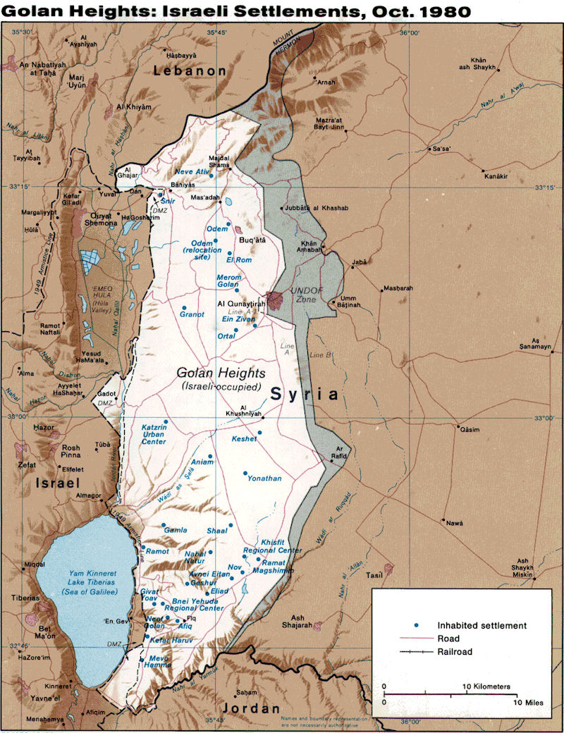 Map Israeli Settlements on the Golan Heights