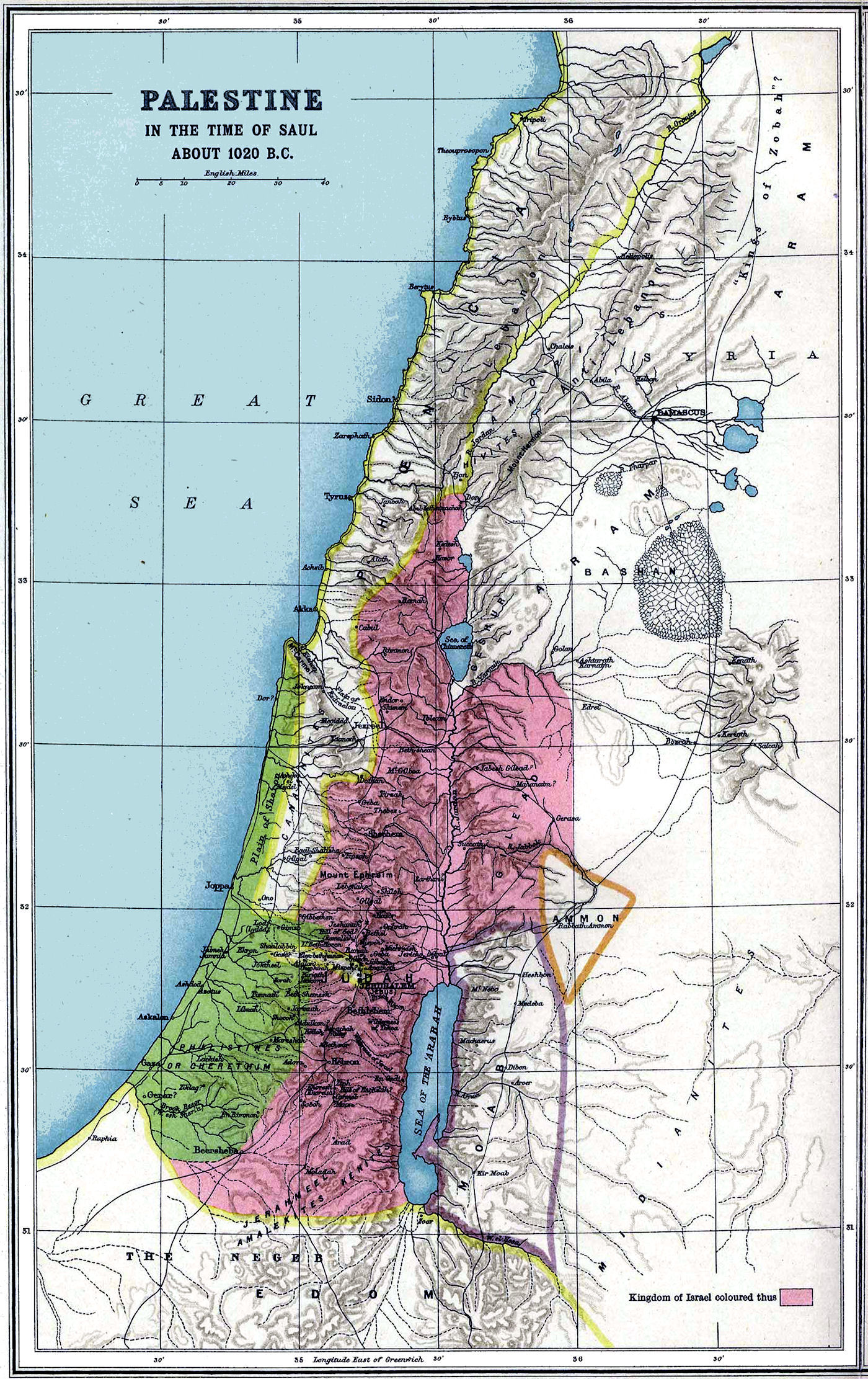 Israel map land of canaan map israel 1020 bc gumiabroncs Gallery