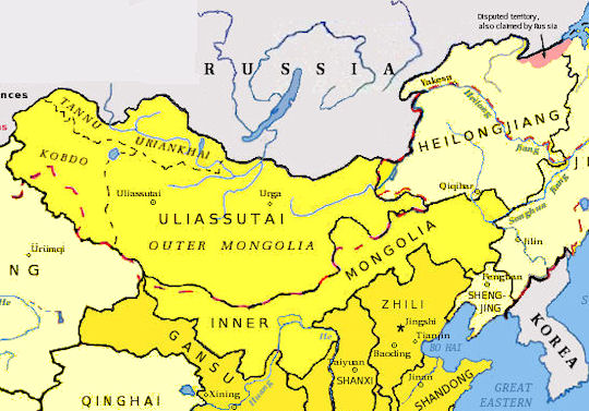 Inner and Outer Mongolia Map - 1910 AD