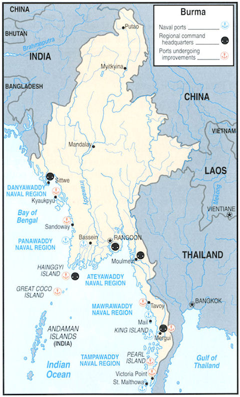 Myanmar Navy Bases - Map of us navy bases
