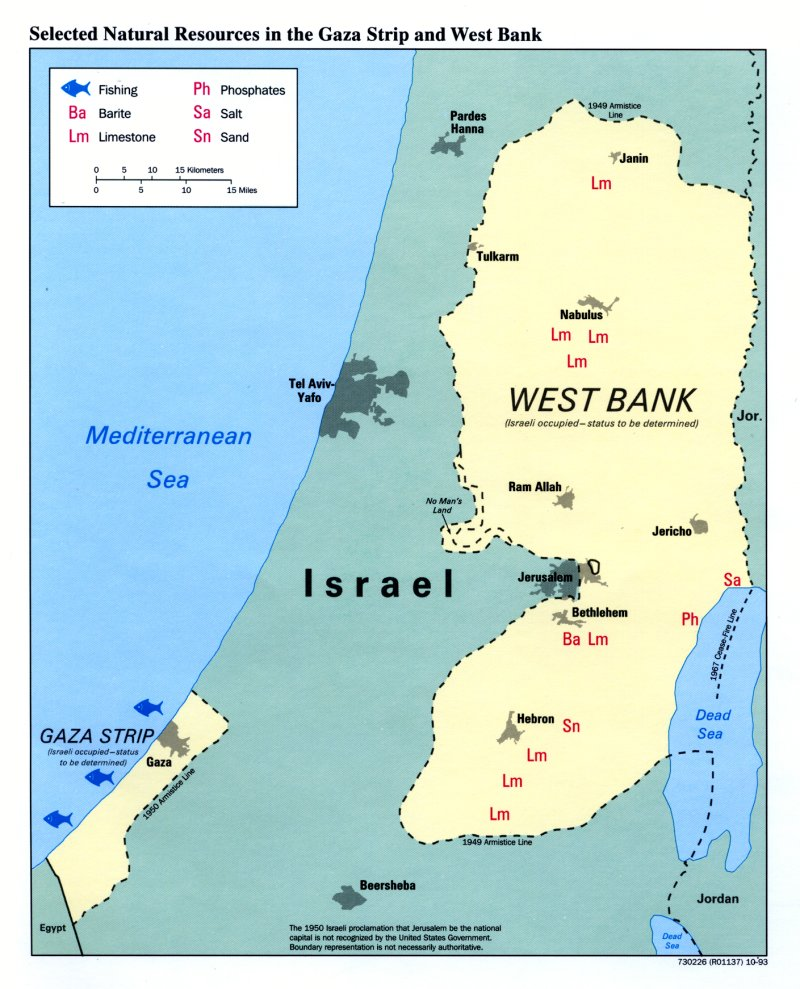 Map Of Natural Resources In Israel
