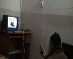 Released video footage from Osama bin Laden's Abbottabad Compound showing the founder of al-Qaeda watching images of himself on television