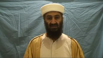 Released Osama Bin Laden video footage captured during Operation Neptune Spear and released May 07, 2011 showing Osama bin Laden practicing in front of a wrinkled sheet.