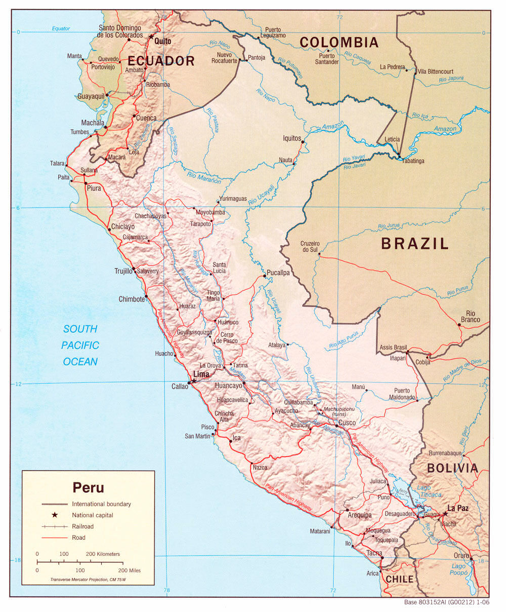 Peru Maps - Physical map of peru