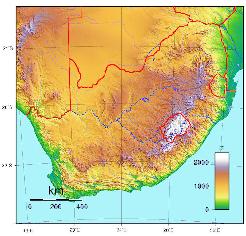 South Africa Elevation Map | Time Zones Map