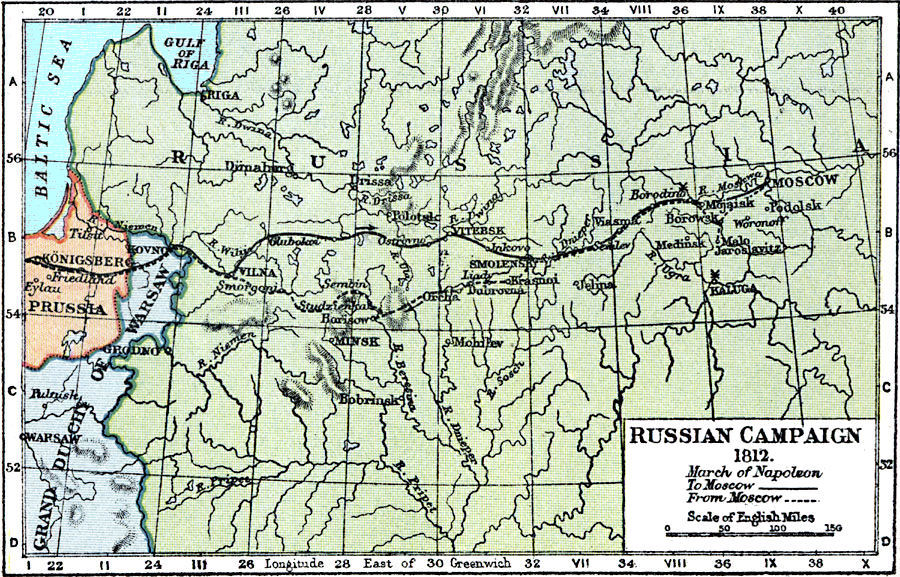 russian history map 1812 napoleon