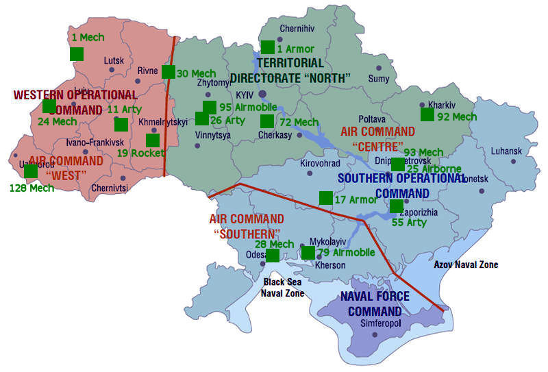 ground forces brigade garrisons all ukrainian military bases