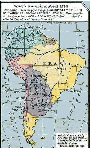 Latin American Wars - Us map 1790 north and south