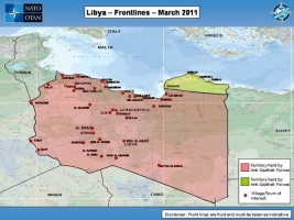 Map showing Libya Frontlines as of March 2011